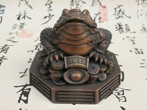 Chinese Folk Feng shui Red Bronze Lucky Wealth Money Toad Golden-toad Statue