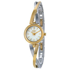 DKNY Crosswalk White Dial Two-tone Bangle Ladies Watch NY2171
