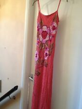 Ladies Coral Floral Beaded Silk Evening Dress By Aftershock Small 8-10