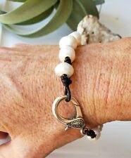 Bohemian Tahitian Freshwater Pearl and Leather Bracelet Handmade in the USA