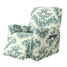 Stretch Recliner Slipcover Floral Armchair Furniture Cover with Pocket Storage