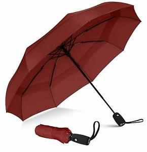 Repel Windproof Travel Umbrella With Teflon Coating Red Automatic Open Close New