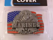 U.S. Marine Corps Metal Hitch Cover (USA Flag with Insignia and Eagles)