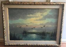 oil painting Wijsman Dutch mallard duck waterfowl row boat grass land framed