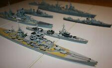 7 Schiffe Modelle fertig gebaut WW2 1:700 bemalt Schwere Kreuzer Zerstörer