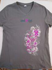 Womens Athleta Iron Girl Event Gray V-Neck Shirt Size M Medium Vguc