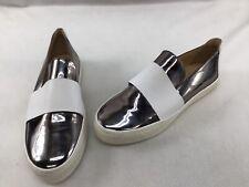 Stuart Weitzman Boyband Silver/White Leather Sneakers Size 9M  K230/