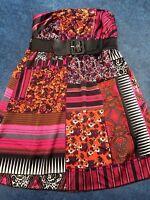 matty m Dress SZ  Medium Strapless Dress Attached Belt Pinks Black Orange