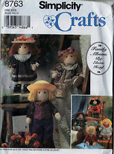"SEWING PATTERN SIMPLICITY 8763 12"" FELT STUFFED RAG DOLL & CLOTHES UNCUT"