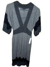 NEW DIRECTIONS $100 Sweater Dress PM Black Gray 3/4 Sleeve V Neck Angora Wool