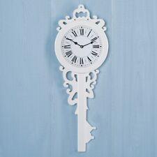 White Wall Clock Old-Fashioned Wooden Key Shaped Elegant & Stylish PRIORITY SHIP