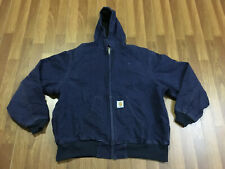 MENS LARGE - Vtg Carhartt Duck Thermal Lined Work Hooded Jacket Navy Blue