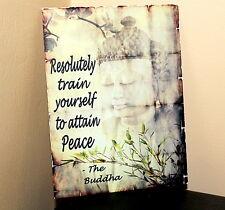 Vintage retro motivational inspirational Buddha quotation A5 metal wall sign