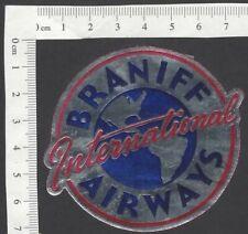 Braniff International Airways vintage metallic luggage label