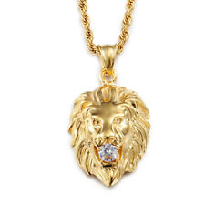 "w Matching Gold Tone Chain 24"" Mens Stainless Steel Necklace Lion Head Pendant"
