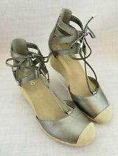 Vionic Calypso Pewter Espadrille Wedge Sandals Ankle Strap Strappy Women's 8.5