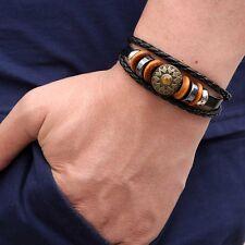 Sun Flower Leather Braided Wristband Bracelet Cuff Bangle Men Women