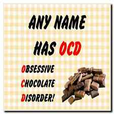 Funny Obsessive Disorder Chocolate Yellow Personalised Drinks Mat Coaster