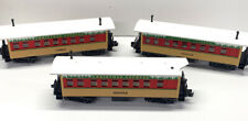 3 MTH Christmas Overton Passenger Cars from Set. Donner, Prancer, Comet. Used!