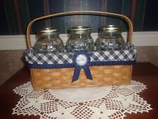 New ListingLongaberger 2003 Blue Ribbon Canning Basket Set with 3 Quart Jars & Tie-On