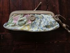 Fossil Clutch Wristlet Handbag Canvas with Leather Trim Floral Pattern Zipper