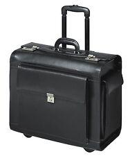 VALISE  DE PILOTE  XXL Case avec trolley roulettes cuir veritable noir  50 cm !