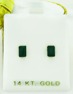 GENUINE 1.32 Cts EMERALDS STUD EARRINGS 14K GOLD * Free Certificate Appraisal *