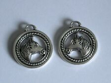 2 - HORSE HEAD IN CIRCLE FOR COUNTRY CHARMS NECKLACE. BRACELET OR EARRINGS.