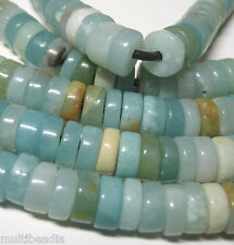 """Amazonite 10mm Heishi Rondelle Large 2mm Hole Beads 8"""" Leather Chain Cord Wrap"""