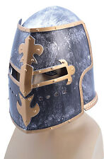 Adult Mens Crudader Medieval Warrior Dark Knight Fancy Dress Costume Helmet LARP