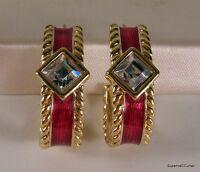 Vintage Swarovski SAL Crystal Rhinestone & Red Enamel Goldtone Post Earrings