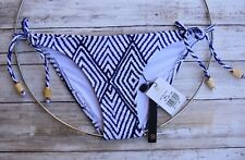 ViX SWIMWEAR RAZI LONG TIE SIDE GOLD DETAIL FULL CUT BIKINI BOTTOM (XS) NWT $95