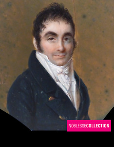 """SIGNED & DATED """"NOËL 1813"""" ANTIQUE FRENCH MINIATURE HAND PAINTED Man Portrait"""
