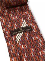 """Ermenegildo Zegna Mens Red/Orange Geometric Floral 100% Silk Tie Italy 3.75"""" euc"""