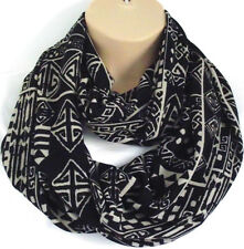 Gorgeous Black Jersey Aztec Print Circle Loop Infinity Scarf Snood - New Spring