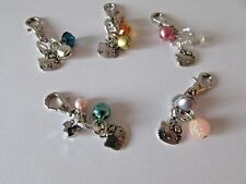 Pretty Tiny Cat Collar Beads & Charm just clip on Cat's Collar Pink Blue Green