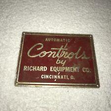 Automatic Controls Richard Equipment Cincinnati OH Emblem Sign Rare Vtg