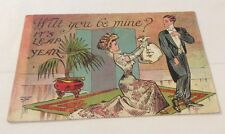 Vintage Paper Ephemera, Postcard, Linen, Valentine Themed, Be Mine
