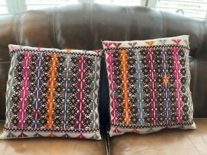 Vintage African Cushion x 2 Hand Embroidered Handspun Undyed Cotton Cloth Tribal