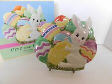 Fitz and Floyd Gathering Eggs Canape Plate Bunny Easter Happy 2001 Rabbit