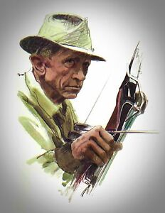 """Fred Bear Drawing 11"""" x 8 1/2"""" Reproduction archery"""