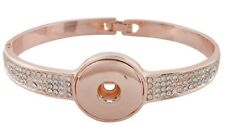 Rose Gold Rhinestone 20mm Snap Charm Interchangeable Bracelet For Ginger Snaps