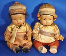 Pair of 1930's Ming Ming Composition Chinese Baby Doll In Silk Clothes w/ Pearls