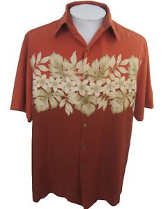 Caribbean Men Hawaiian camp shirt L pit to pit 24.5 aloha luau tropical floral