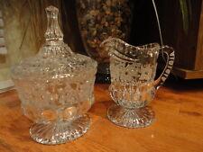 Crystal Clear Glass Cream & Sugar Cut & etched Floral Vintage