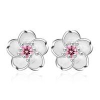925 Silver Crystal Cherry Blossoms Flower Ear Stud Earrings Women Girl's Jewelry