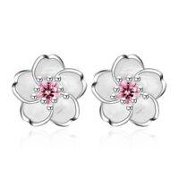 925 Silver Crystal Cherry Blossoms Flower Ear Stud Earrings For Women Girl's