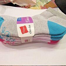 Hanes Classics Girls Low Cut Socks Four Pack Lg 4-10