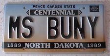 North Dakota 1989 VANITY License Plate MS BUNNY