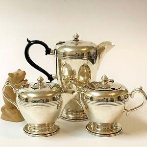 Silverplate Coffee-Tea Pot Trio (Inc Sugar & Creamer) w Hinged Lids, by Crusader